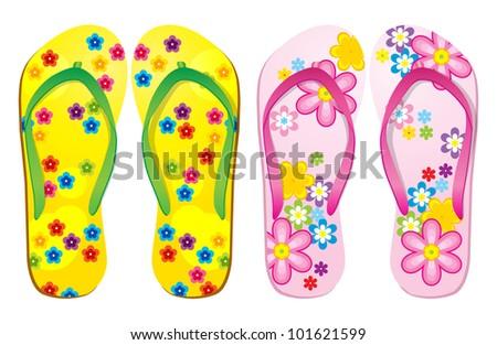 Vector colorful flip flops