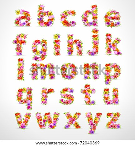 vector colorful flower font