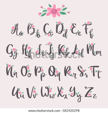 Vector Colorful Flower Font Nature Summer Type And Handmade Drawn Alphabet Spring Beautiful Flora Set Blossom Lettering Romantic Cute