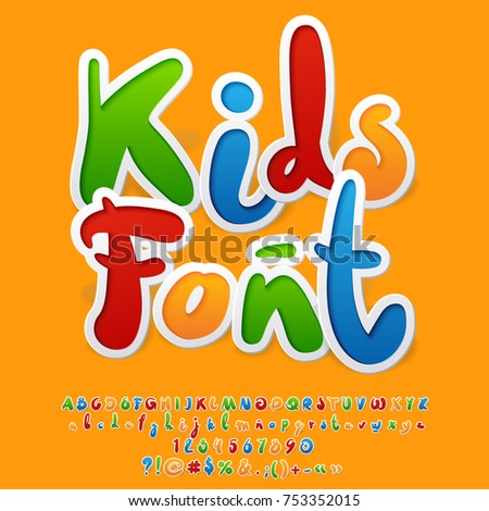 Vector colorful funny unusual Kids Font. Hand written Alphabet letters, Numbers and Punctuation Symbols