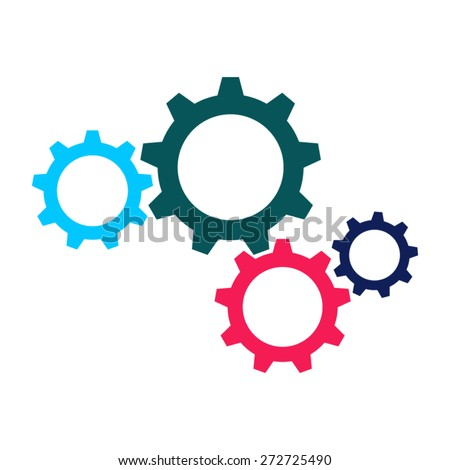 vector colorful gears icon in