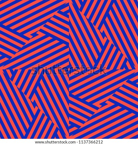 Vector colorful geometric seamless pattern with diagonal stripes, cross lines, triangles. Trendy bright colors, red and electric blue. Creative psychedelic design. Retro 80-90's fashion background