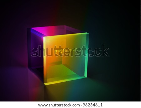 vector colorful glass cube