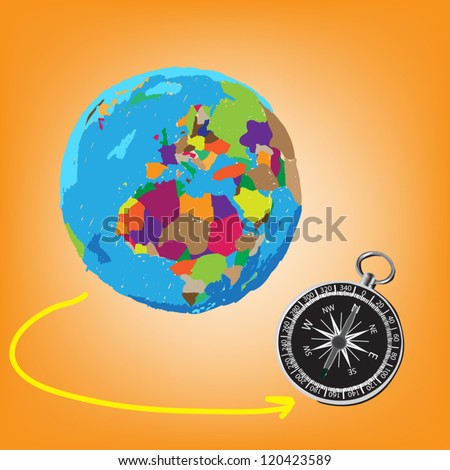 Vector: Colorful globe painted and compass Illustrator, EPS 10.