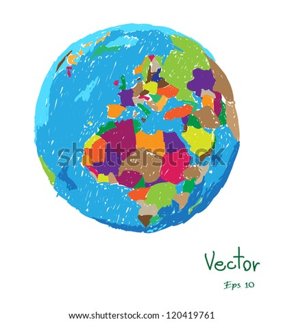 Vector: Colorful globe painted Illustrator, EPS 10.