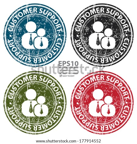 Vector : Colorful Grunge Style Customer Support Icon, Badge, Label or Sticker for Customer Service, Support, Call Center or CRM Concept Isolated on White Background
