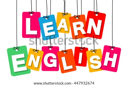 Vector colorful hanging cardboard. Tags - learn english