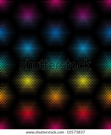 Vector colorful hexagon seamless texture - stock vector