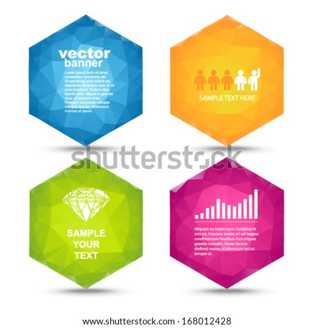 Vector - colorful hexagons banners