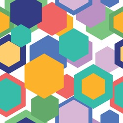 Vector colorful hexagons seamless pattern. Geometric colorful shapes texture background. Can be used as wallpaper, banner and card template wrapping paper, print or website background or for any use.