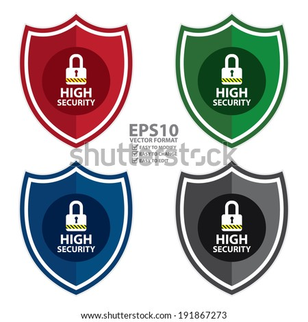 Vector : Colorful High Security Shield, Icon, Label, Sticker or Badge Isolated on White Background