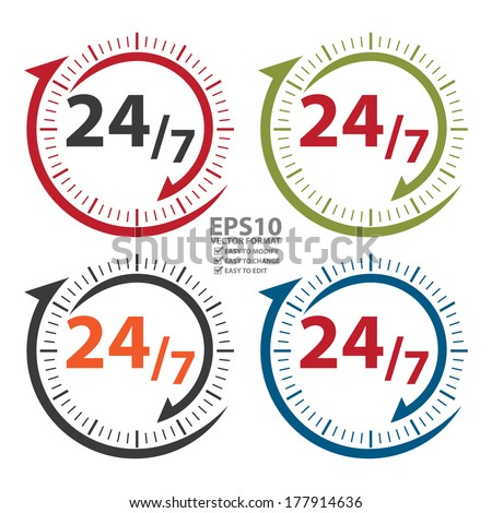 Vector : Colorful 24/7 Icon, Badge, Label or Sticker for Customer Service, Support, Call Center or CRM Concept Isolated on White Background