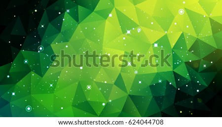 Stock Photo Vector colorful Illustration. Astrology horizontal bright green background. Outer space backdrop. Universe. Turquoise galaxy. Fog. Dark lime fond. Stars. Cosmos. Abstract triangles.