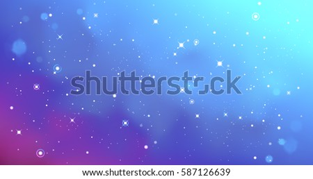 Vector colorful Illustration. Astrology horizontal cyan background. Outer space blue backdrop. Universe. Turquoise galaxy. Purple fog. Blurred stars fond Watercolor cosmos. Magenta blur. Pastel colors
