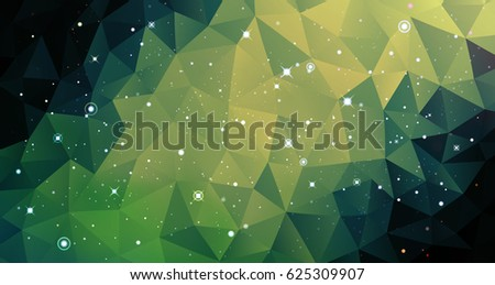 Stock Photo Vector colorful Illustration. Astrology horizontal pale green background. Outer space backdrop. Universe. Turquoise galaxy. Fog. Dark lime fond. Stars. Cosmos. Abstract triangles.