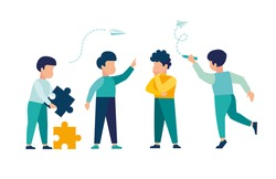 Vector colorful illustration, kids team communication, planning and concept development, brainstorming, team thinking