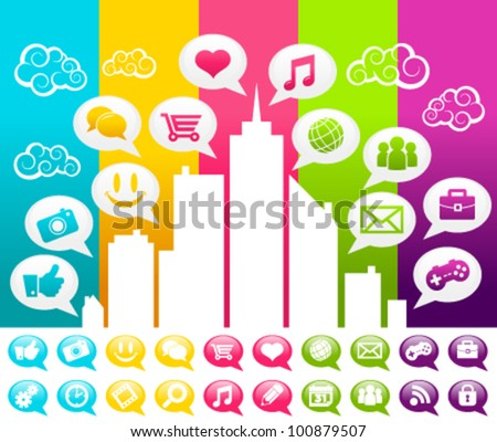 Vector colorful illustration of a city with social media speech bubble icons.