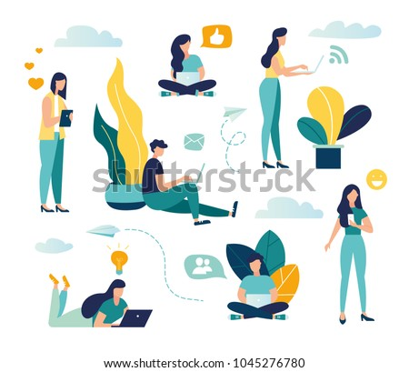 Vector colorful illustration of communication via the Internet, social networking,chat, video,news,messages,web site, search friends, mobile web graphics - Shutterstock ID 1045276780