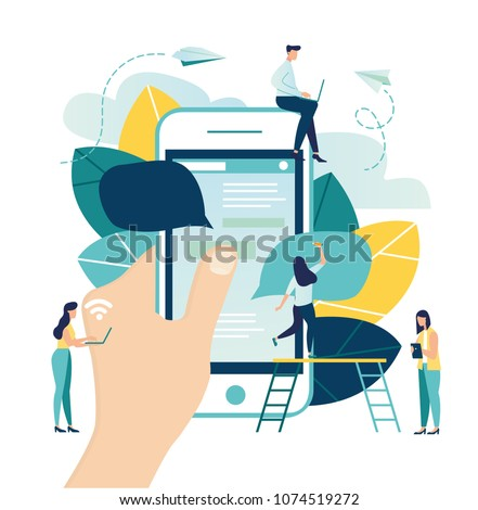 Vector colorful illustration of communication via the Internet, social networking,chat, video,news,messages,web site, search friends, mobile web graphics,sending messages, online dating