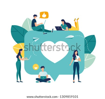 Vector colorful illustration of communication via the Internet, social networking,chat, video,news,messages,web site, search friends, mobile web graphics - Vector