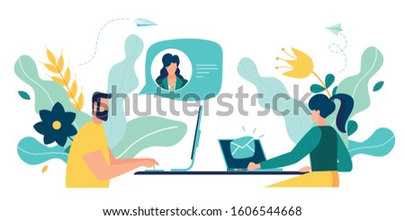 Vector colorful illustration of communication via the Internet, social networking,chat, video,news,messages,web site, search friends, mobile web graphics, online Dating