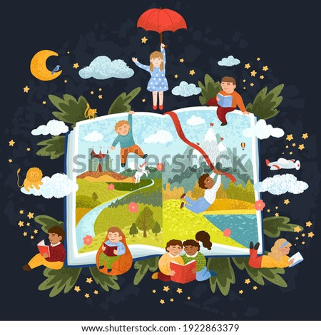 Vector colorful illustration of cute children read a book. Reading bedtime stories. The book of fairy tales.