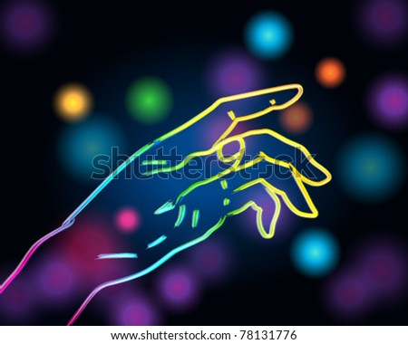 Vector colorful illustration of hand silhouette made of light