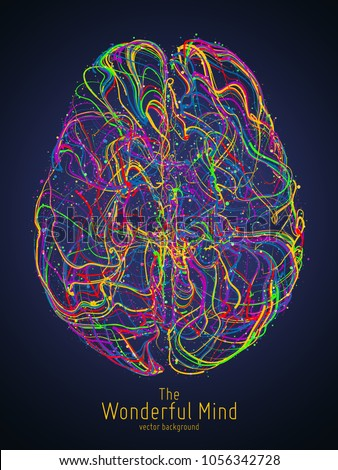 Vector colorful illustration of human brain with synapses. Conceptual image of idea birth, creative imagination or artificial intelligence. Net of lines forms brain structure. Futuristic mind scan.