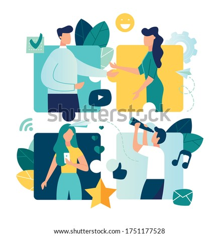 Vector colorful illustration of internet communication, team metaphor, people connecting puzzle elements social networks, chat, video,vector,messages, website, search for friends, mobile web graphics