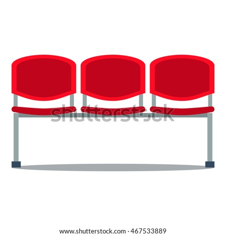 Vector colorful illustration of red plastic stadium seat in flat style, isolated on white background