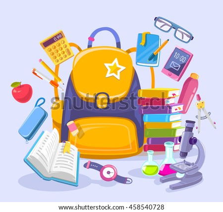 Vector colorful illustration of unisex yellow backpack, pile of books, phone, microscope and other many school supplies on blue background. Bright design for web, site, advertising, banner, poster