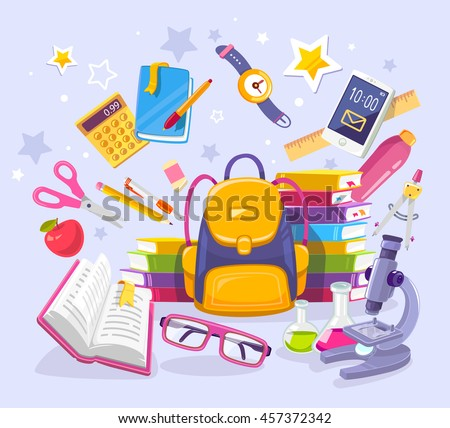 Vector colorful illustration of yellow backpack, pile of books, phone, microscope and other many school supplies on blue background. Bright design for web, site, advertising, banner, poster, board