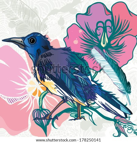 Vector colorful illustration with a bird and flowers.