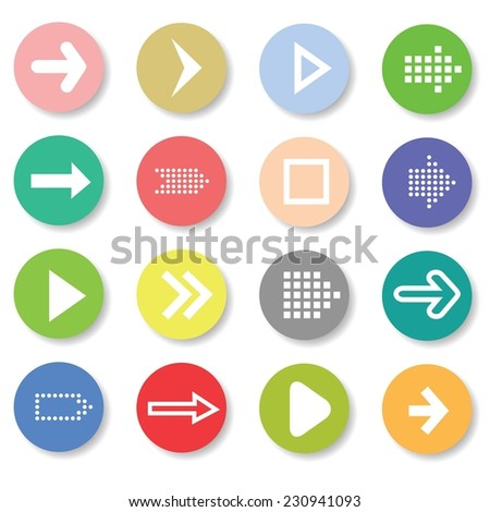 Vector Colorful Illustration with Set of Arrows Icons on a White  Background