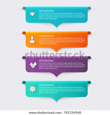 Vector colorful info graphics for your business presentations. Can be used for website layout, numbered banners, diagram, horizontal cutout lines, web design.
