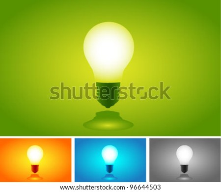 Vector Colorful Light Bulbs set. Graphic Design Editable For Your Design.