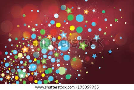Vector colorful lights and stars on red bokeh background.