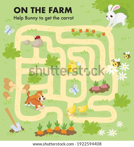 Vector colorful maze for children with cartoon animal characters, country background, farm plants, vegetables, pets. Kids maze with way passing through vegetables berries and flowers beds. Puzzle game