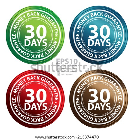 vector colorful metallic style 30 days money back guarantee icon badge label or sticker for. Black Bedroom Furniture Sets. Home Design Ideas
