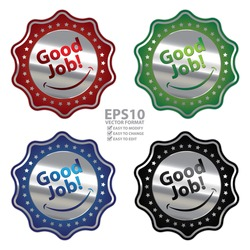 Vector : Colorful Metallic Style Good Job Sticker, Label or Icon Isolated on White Background
