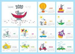 Vector colorful monthly calendar with a cute traveler rat in adventure - symbol of the 2020 year Chinese calendar. Editable template A5, A4, A3 size, can be and used as a desk, table or wall calender