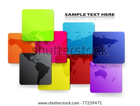 Vector colorful mosaic map of the world. - stock vector