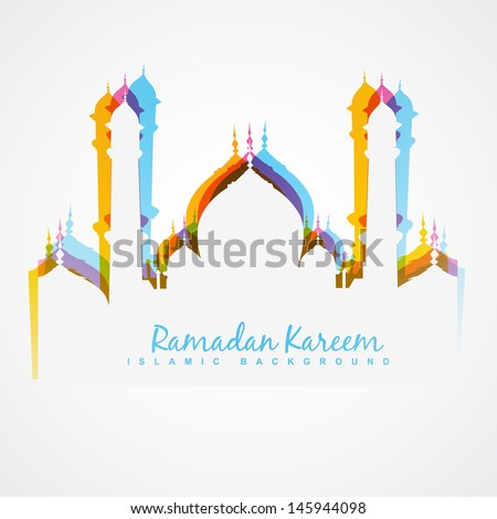 vector colorful mosque design illustration