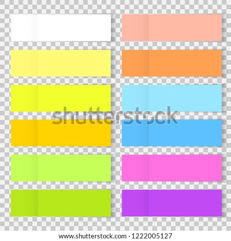 Vector colorful office bookmarks or sticker note paper isolated. Set of sticky paper or bookmarkers with shadow isolated on a transparent background. Vector yellow, blue, red post note for your design
