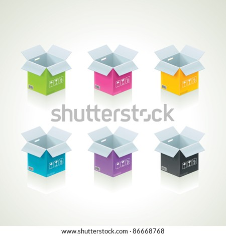 Vector colorful open boxes set