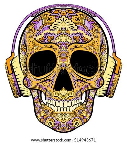 vector colorful orange skull