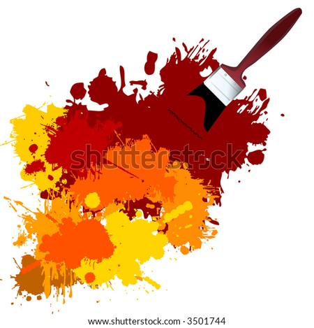 Vector - Colorful paint on a white canvas with a paintbrush.
