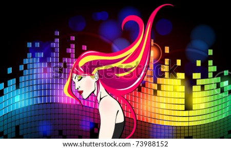 Vector colorful party girl illustration - stock vector