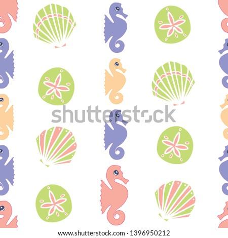 vector colorful pastel seahorse