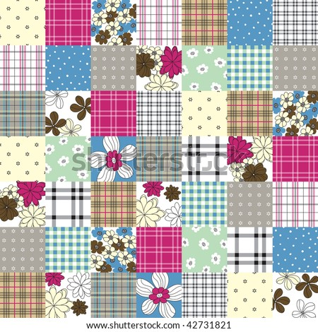 vector colorful patchwork seamless pattern